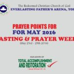 Prayer Points for May Fasting and Prayer Week  (23rd-29th May 2016)