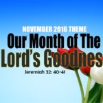 November 2016 Theme - Our Month of The Lord's Goodness. Jeremiah 32 vs 40-41.