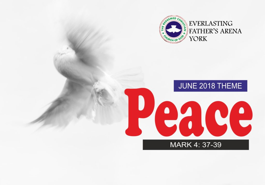 June 2018 Theme - Peace - Mark 4: 37-39