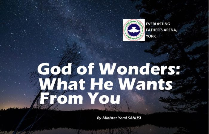 God of Wonders: What He Wants From You! by Minister Yomi Sanusi